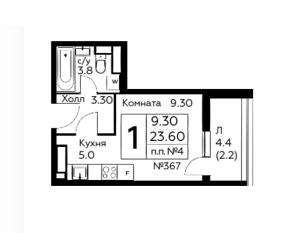 Планировка 1-комнатной квартиры в Южное Бунино